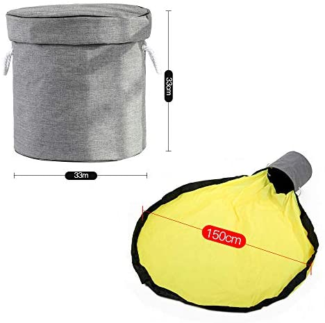 FUQUN Toy Storage Bag and Play mat - Solid Grey Clean-up ...